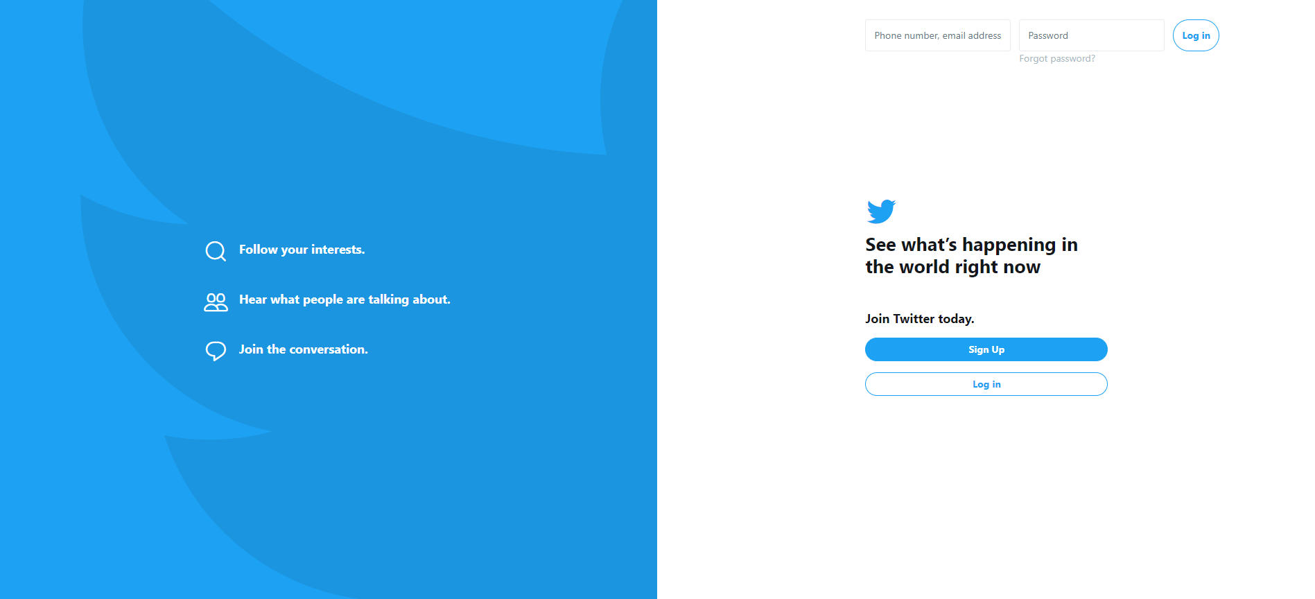 blue twitter sign up page