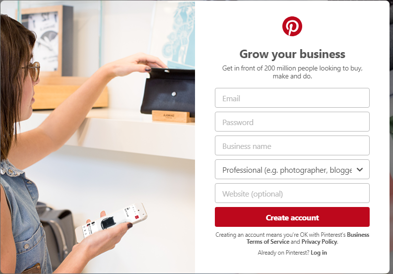 Pinterest create business page