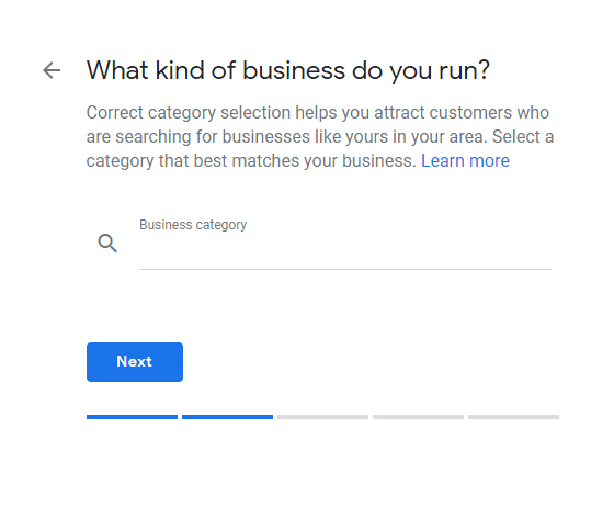 business type blue next button