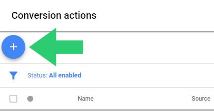 new conversion button adwords