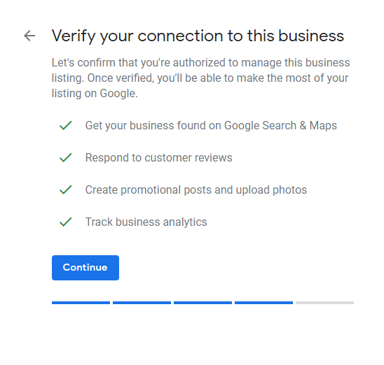 verify google my business blue continue button