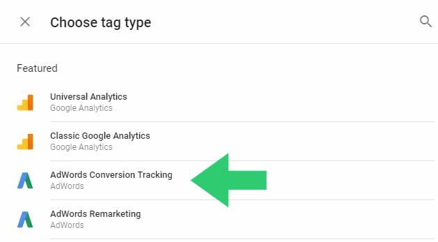 tag type adwords conversion tracking
