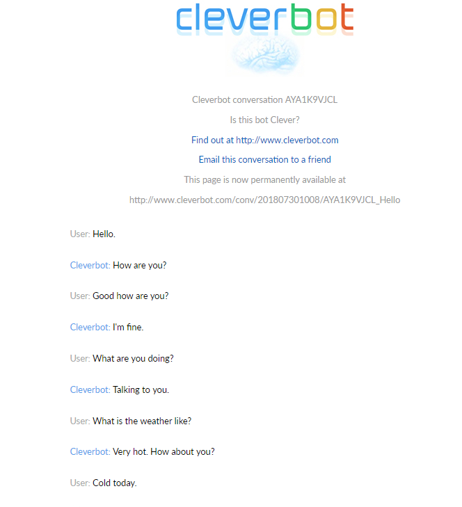 Cleverbot Chatbot example