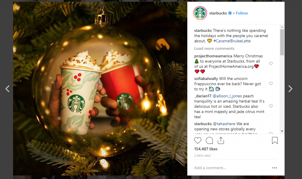 Screenshot of Starbuck's Instagram Christmas promotion post