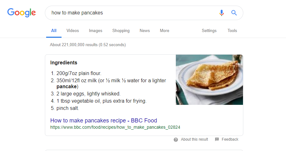 featured snippet pancakes 2019