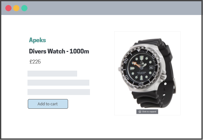 diving watch product page